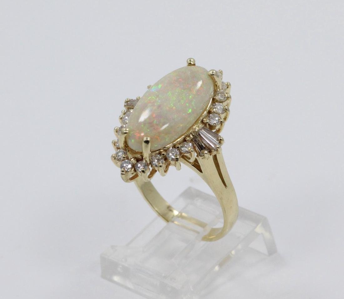 18mm AAA Opal, 1.25ctw Diamond & 14K YG Ring