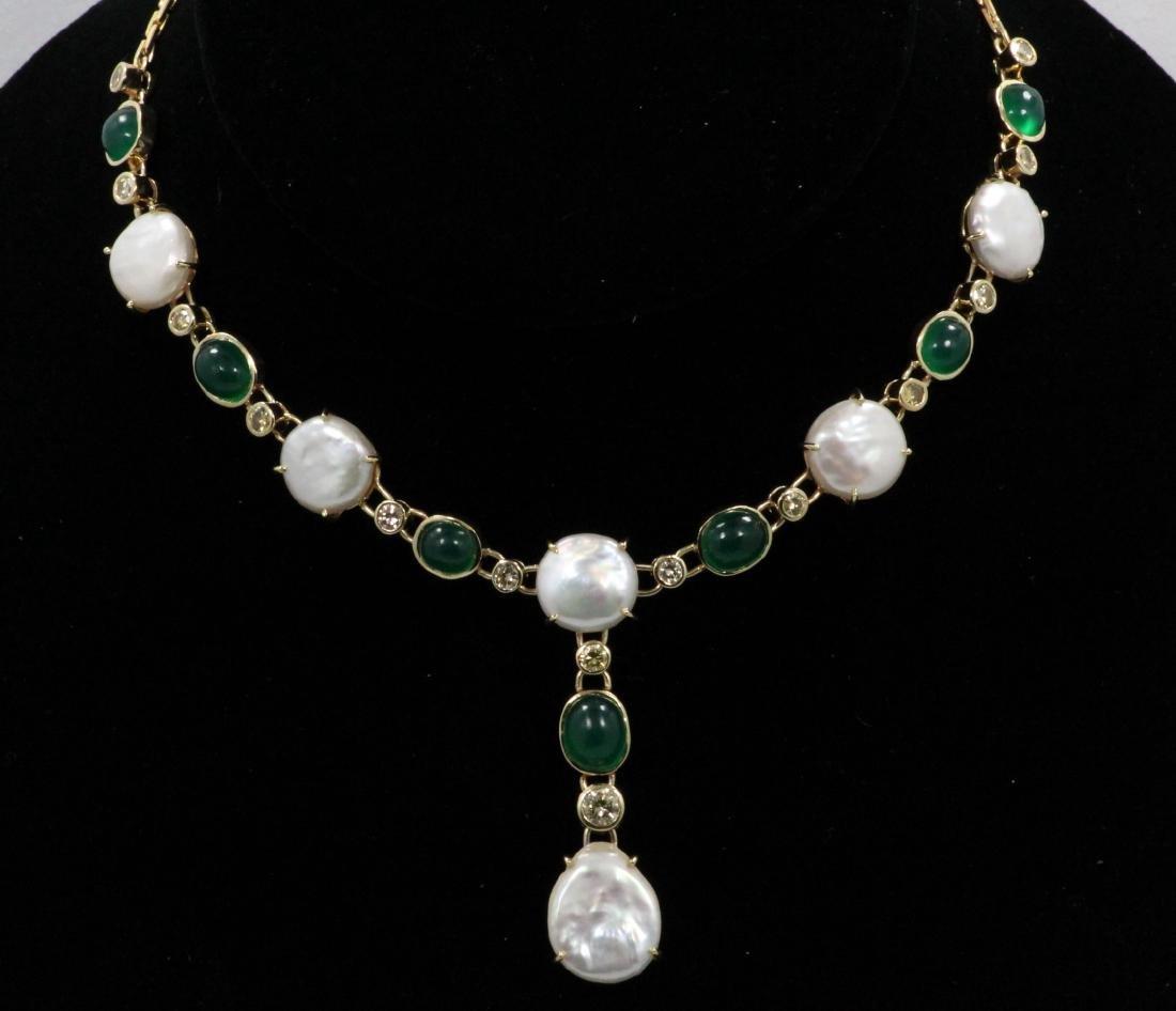 7.00ctw Emerald, 1.50ctw Diamond & 14K Necklace