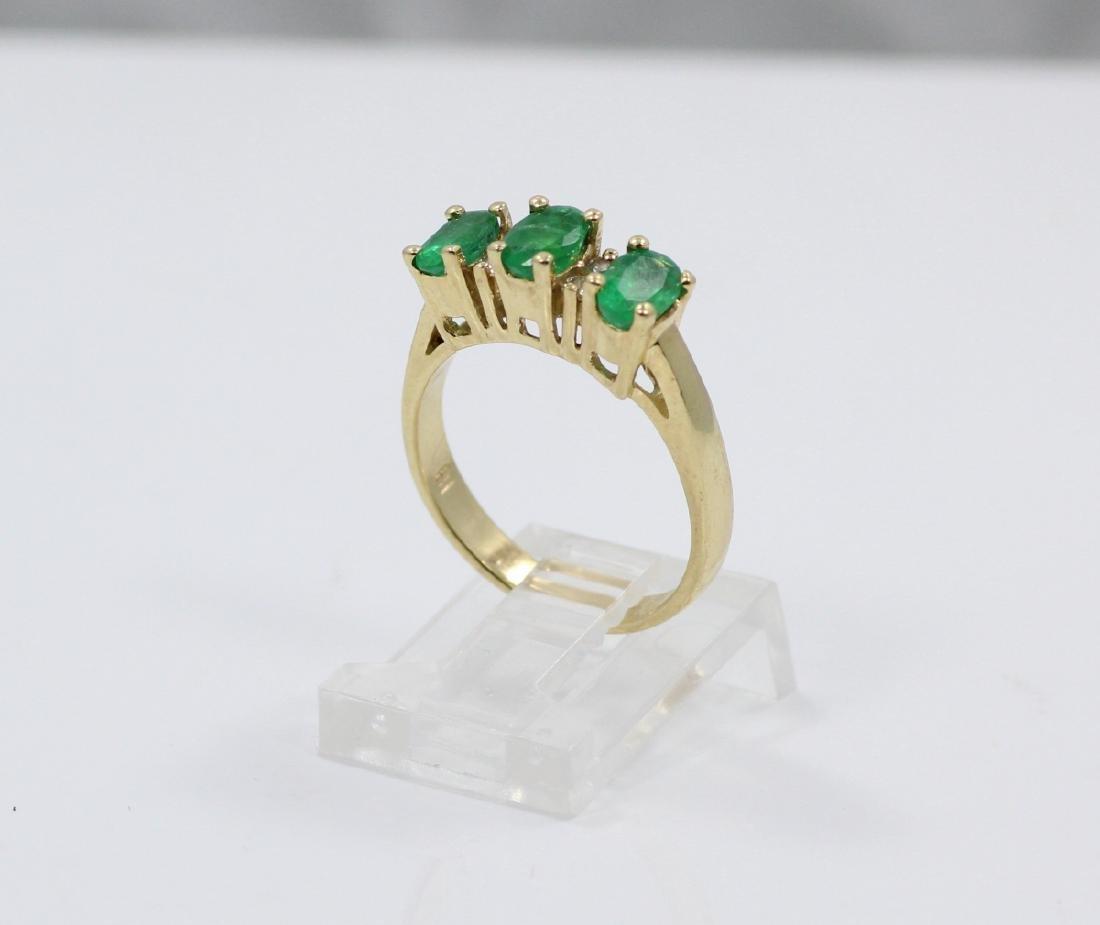 1.05ctw Genuine Emerald & 14K Yellow Gold Band