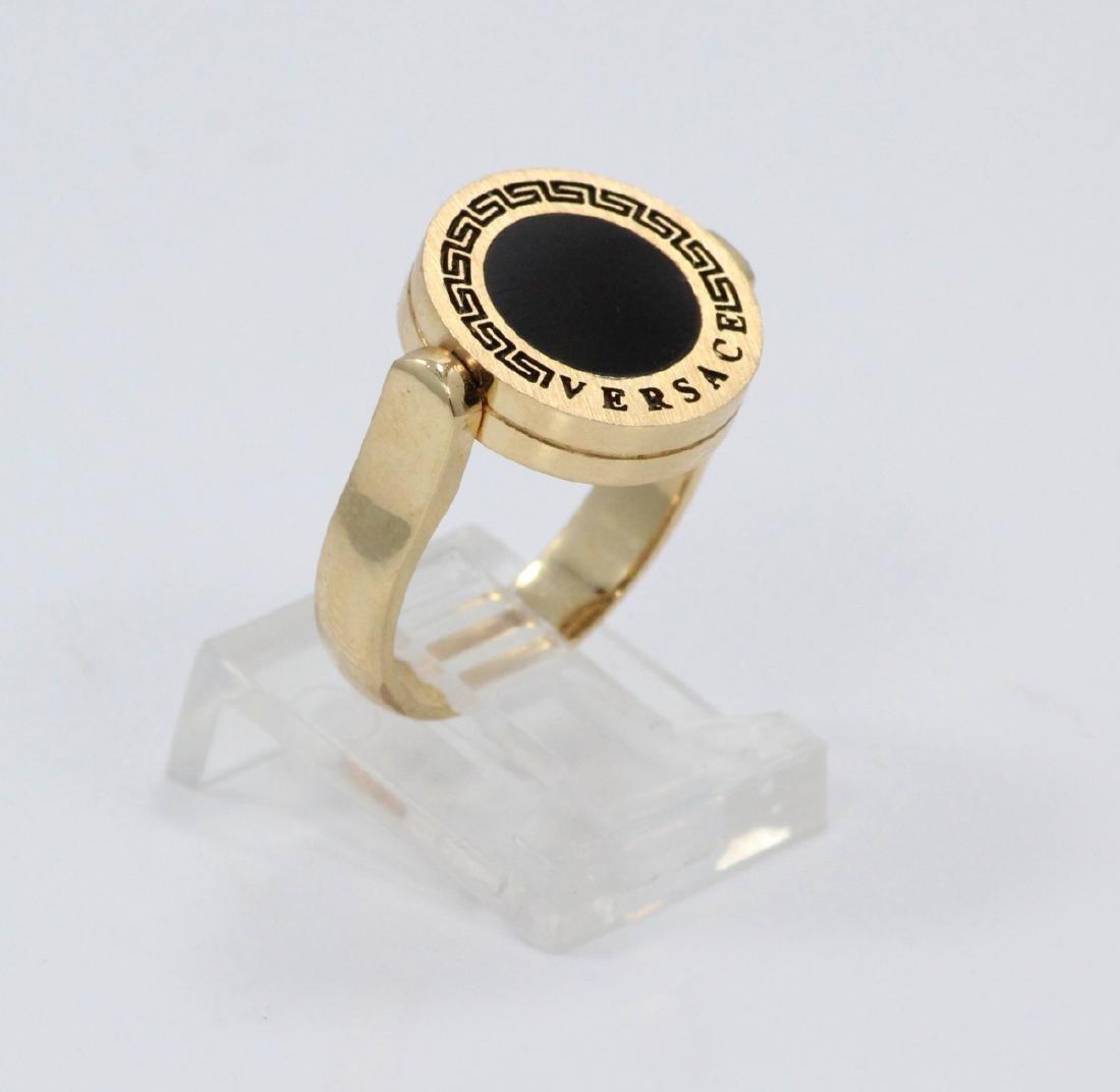 Versace Medusa Onyx & Enamel Reversible Ring - 3