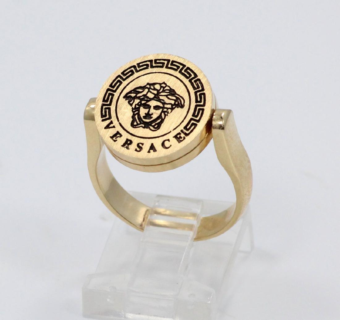 Versace Medusa Onyx & Enamel Reversible Ring - 4