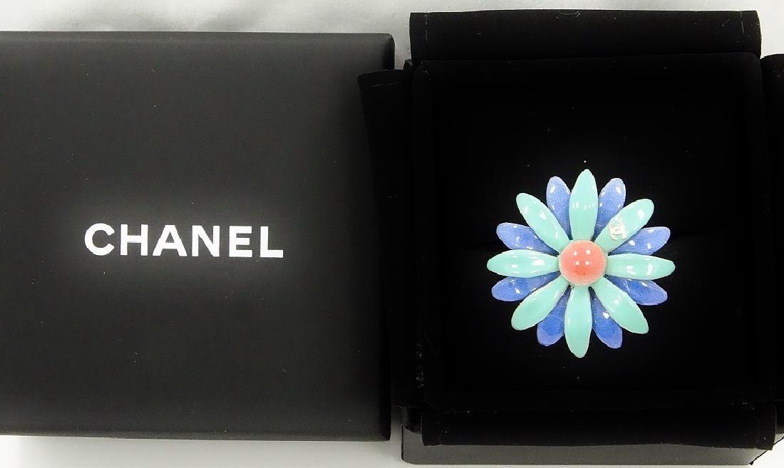 "Chanel France 1"" Enamel Flower Haute Couture Ring"