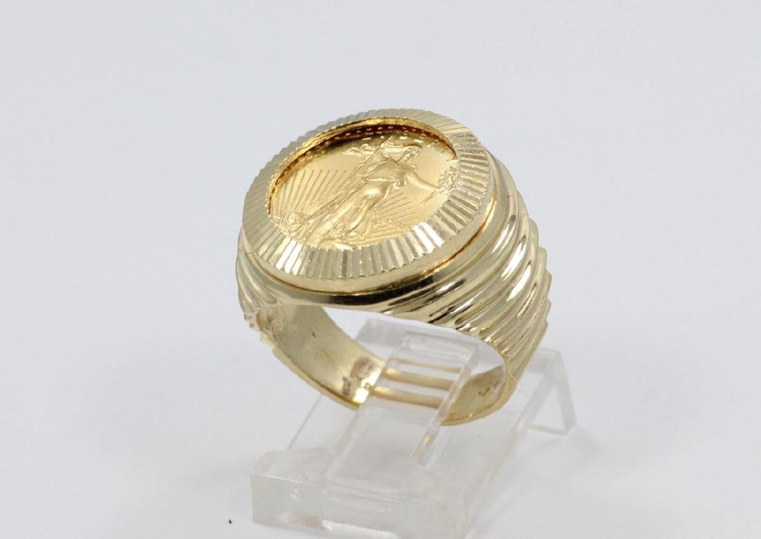 "22K Gold $5 Coin in Solid 14K ""Stairstep"" Band"
