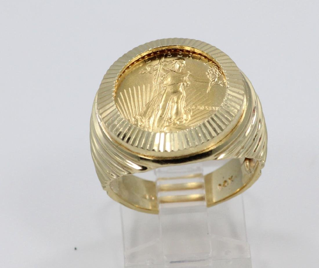 "22K Gold $5 Coin in Solid 14K ""Stairstep"" Band - 2"