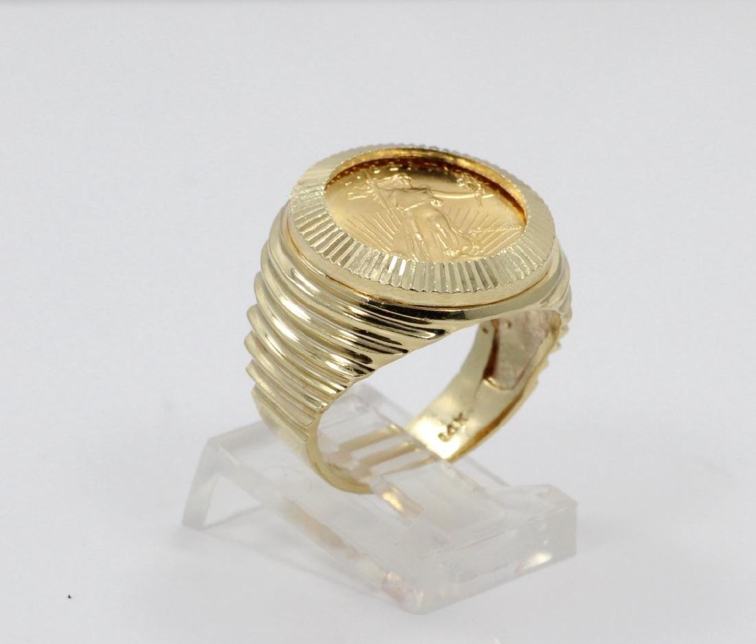 "22K Gold $5 Coin in Solid 14K ""Stairstep"" Band - 3"