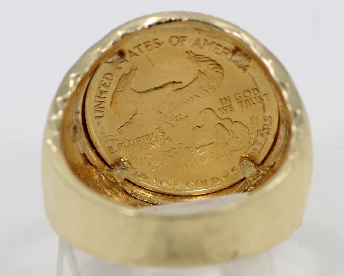 "22K Gold $5 Coin in Solid 14K ""Stairstep"" Band - 4"