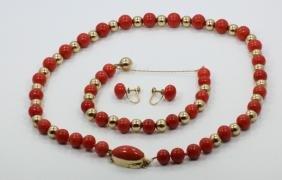 Jeffrey Designs 14K & Coral Necklace & Bracelet