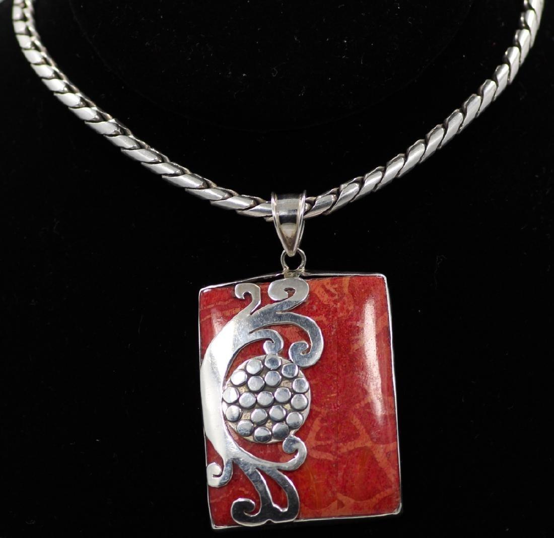 "1.5"" Red Sponge Coral & Sterling Silver Pendant"