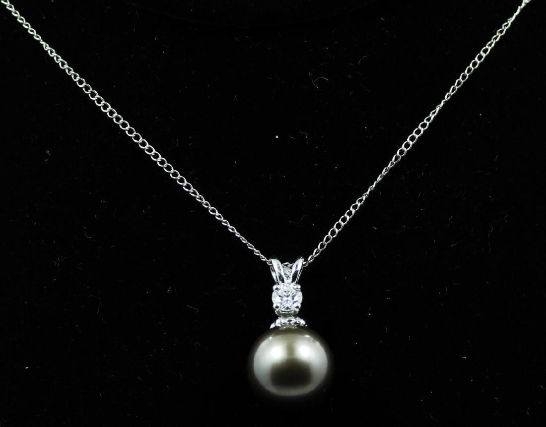 11mm Tahitian Pearl, 0.20ct Diam. & 14K Necklace - 2