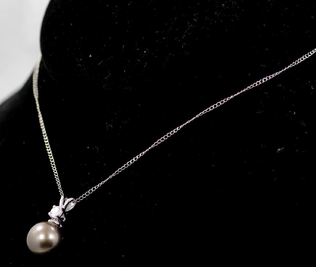11mm Tahitian Pearl, 0.20ct Diam. & 14K Necklace - 3
