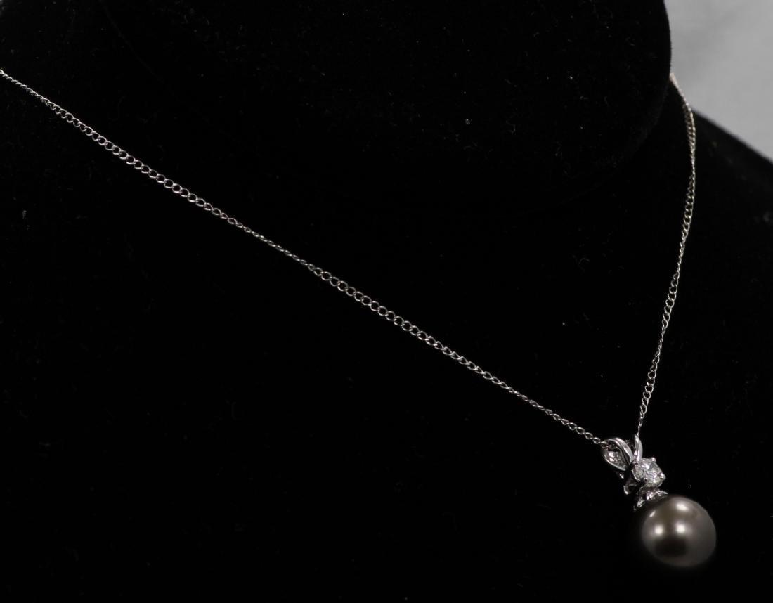 11mm Tahitian Pearl, 0.20ct Diam. & 14K Necklace - 4