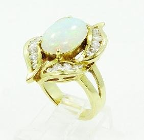 12.5mm AAA Opal, 1.00ctw Diamond & 14K YG Ring