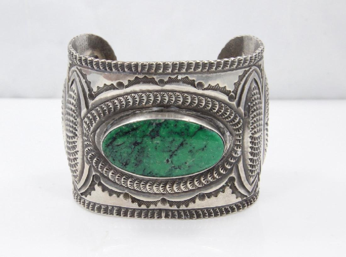 Navajo Green Turquoise & Sterling Silver Cuff