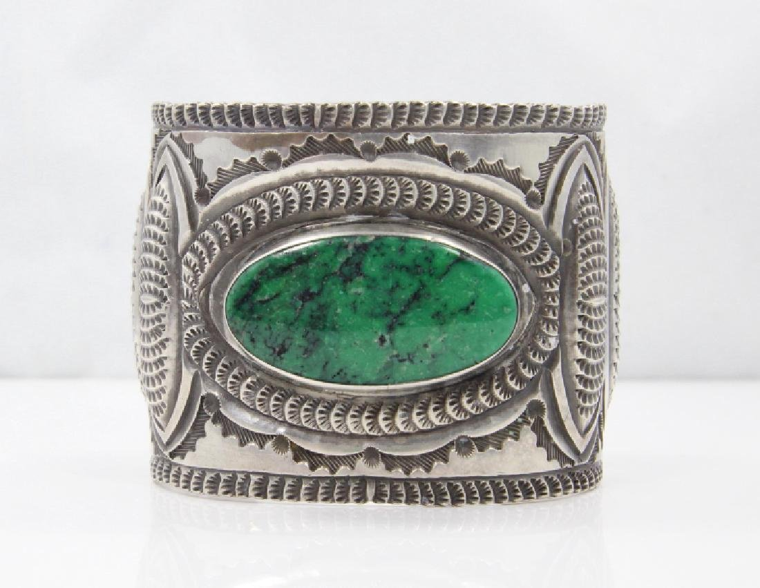 Navajo Green Turquoise & Sterling Silver Cuff - 2