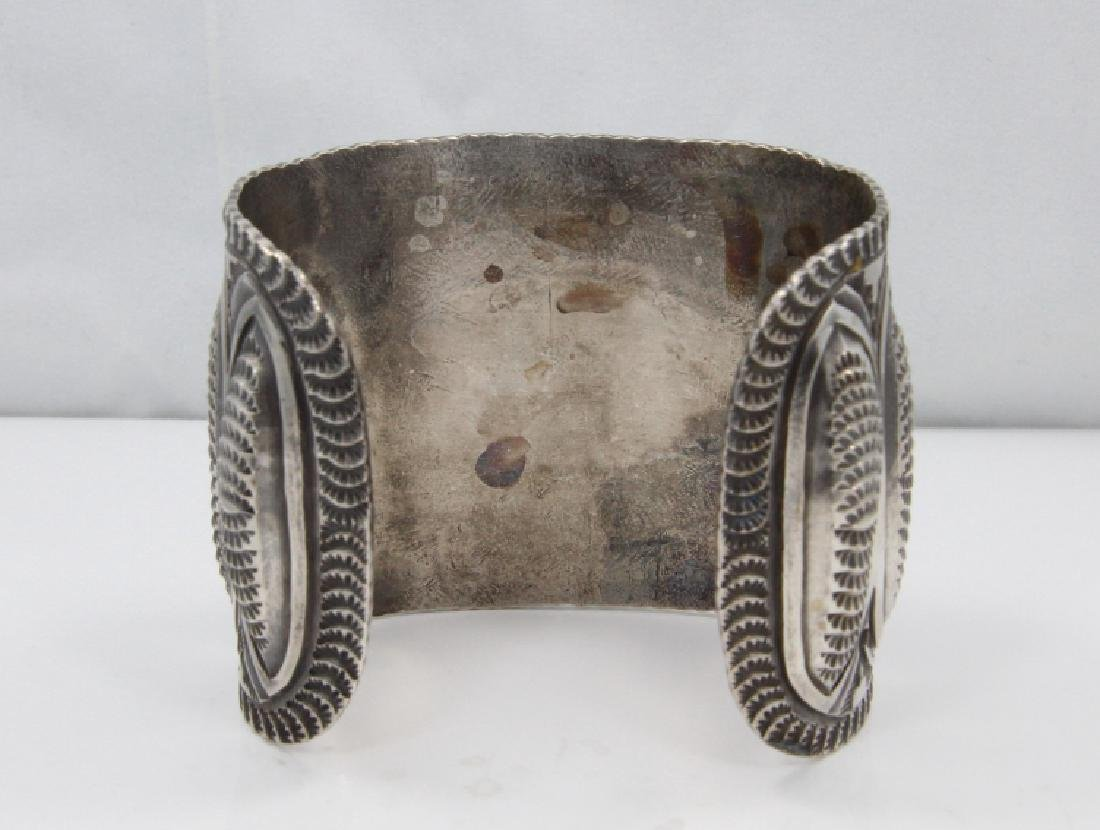 Navajo Green Turquoise & Sterling Silver Cuff - 4