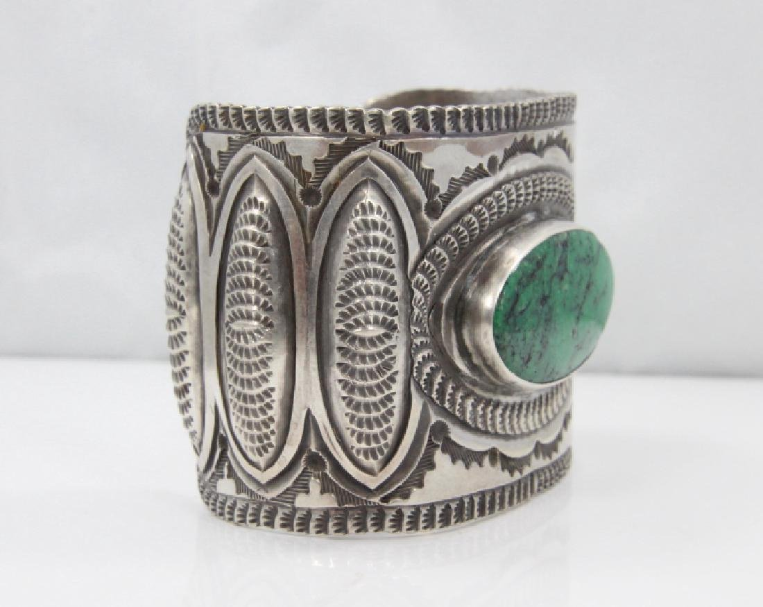 Navajo Green Turquoise & Sterling Silver Cuff - 5