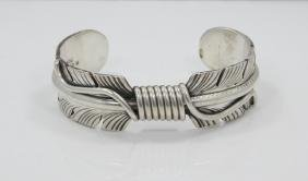 Mike Thomas Jr. Navajo Solid Silver Feather Cuff
