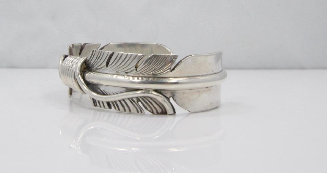 Mike Thomas Jr. Navajo Solid Silver Feather Cuff - 3