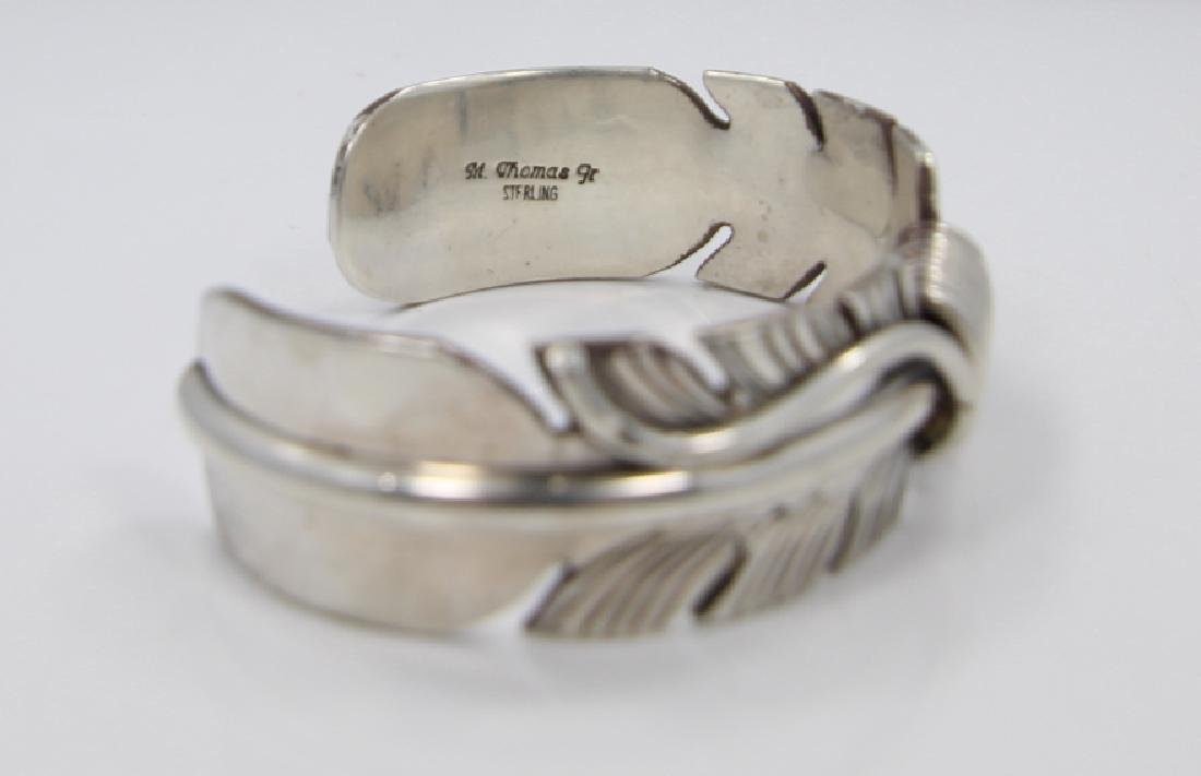 Mike Thomas Jr. Navajo Solid Silver Feather Cuff - 5