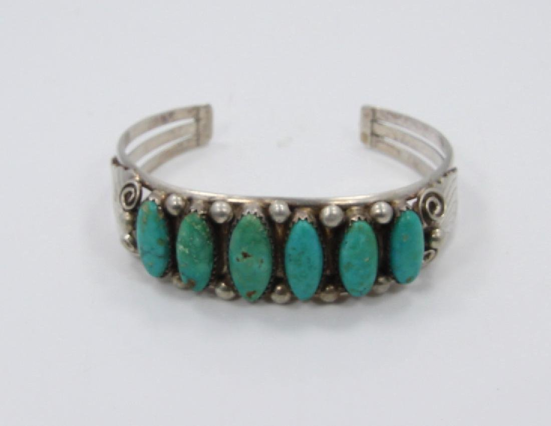 Native American Turquoise & Sterling Silver Cuff