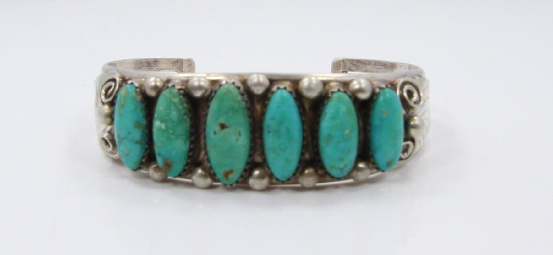 Native American Turquoise & Sterling Silver Cuff - 2