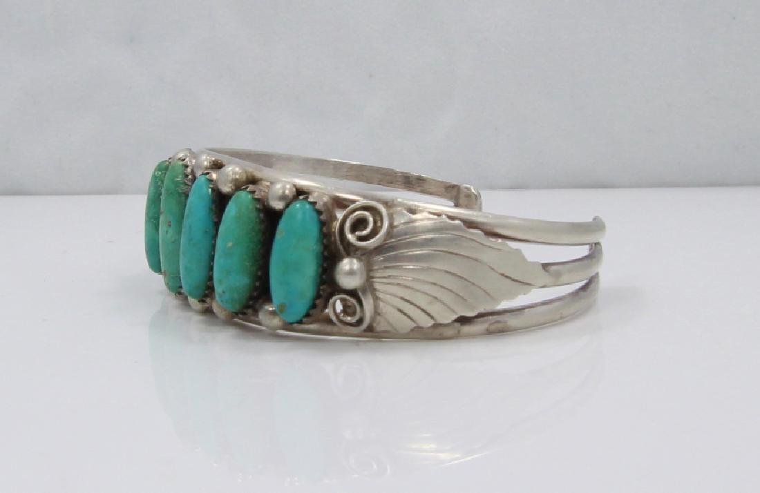 Native American Turquoise & Sterling Silver Cuff - 3