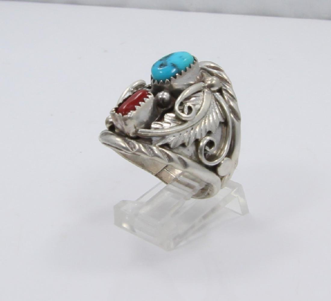 Archie Martinez Silver, Turquoise & Red Coral Ring
