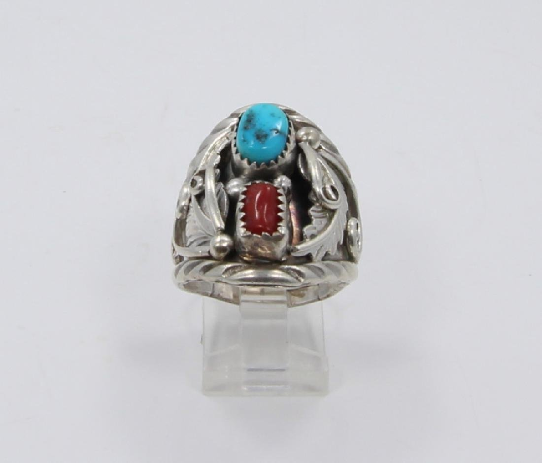 Archie Martinez Silver, Turquoise & Red Coral Ring - 2