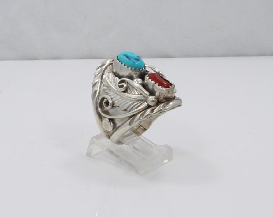 Archie Martinez Silver, Turquoise & Red Coral Ring - 3