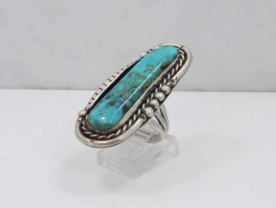 Navajo Blue Gem Turquoise & Sterling Silver Ring