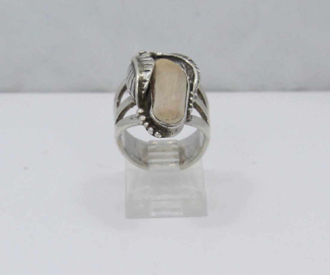 Native American Sterling Silver & Terracotta Ring - 2