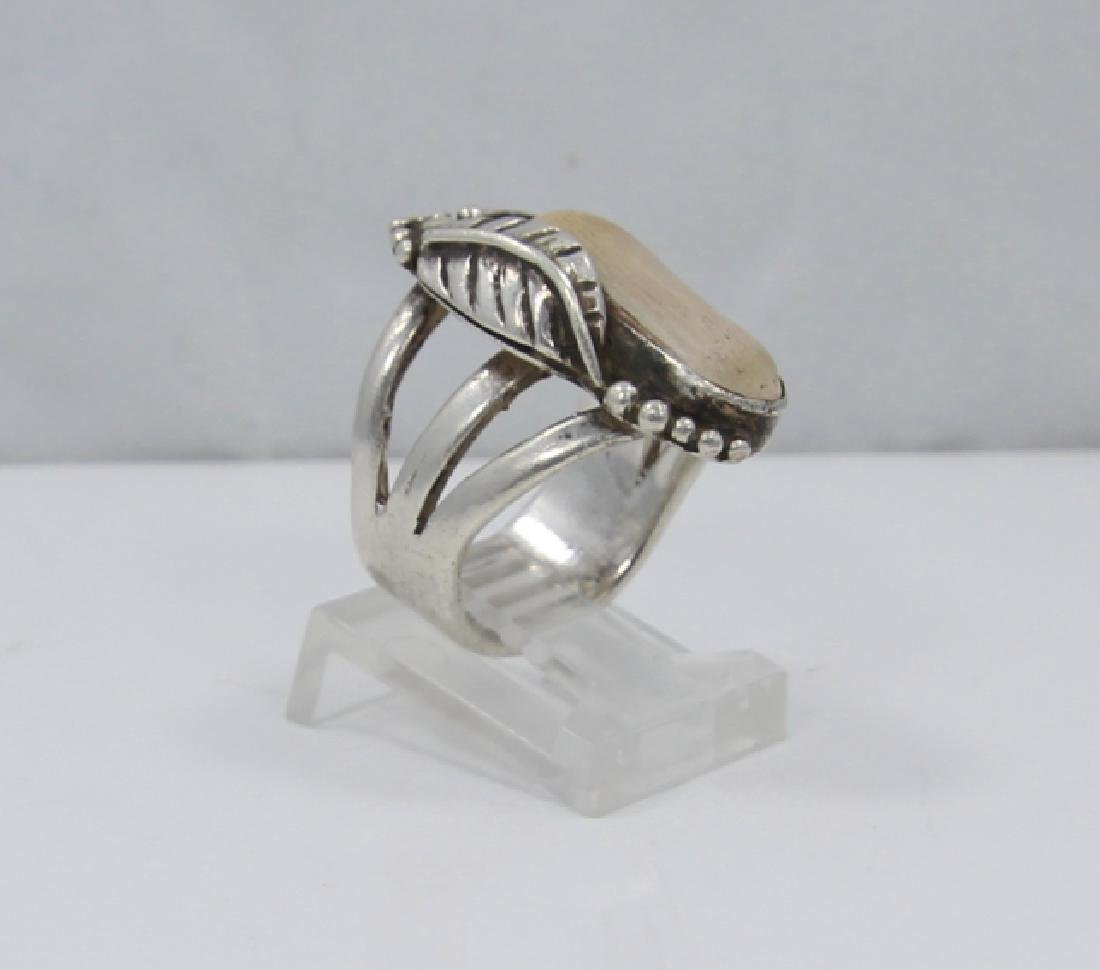 Native American Sterling Silver & Terracotta Ring - 3