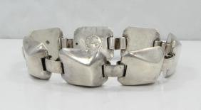 Coro Mexico Sterling Silver Raised Link Bracelet