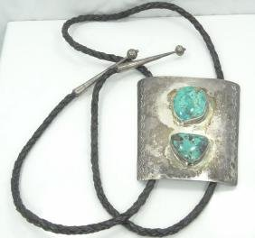 Navajo Solid Sterling Silver & Turquoise Bolo Tie
