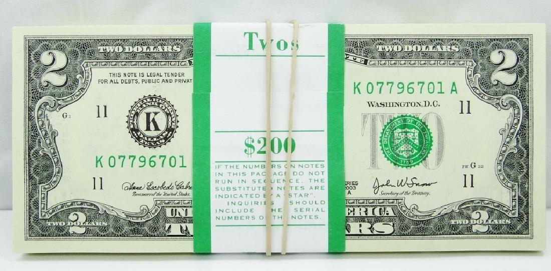 (100) $2 Bills in Mint Cond. in Numeric Order