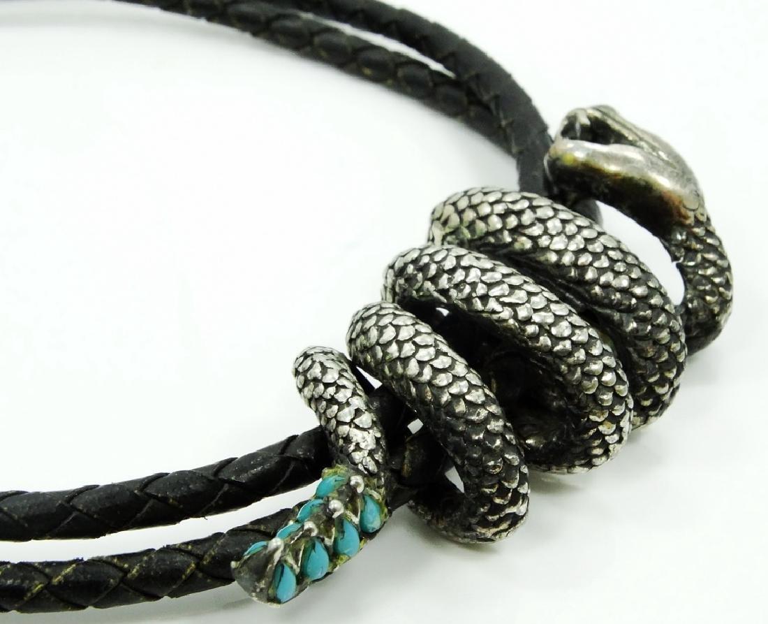 Native American Bolo Tie W/Silver Snake - 3