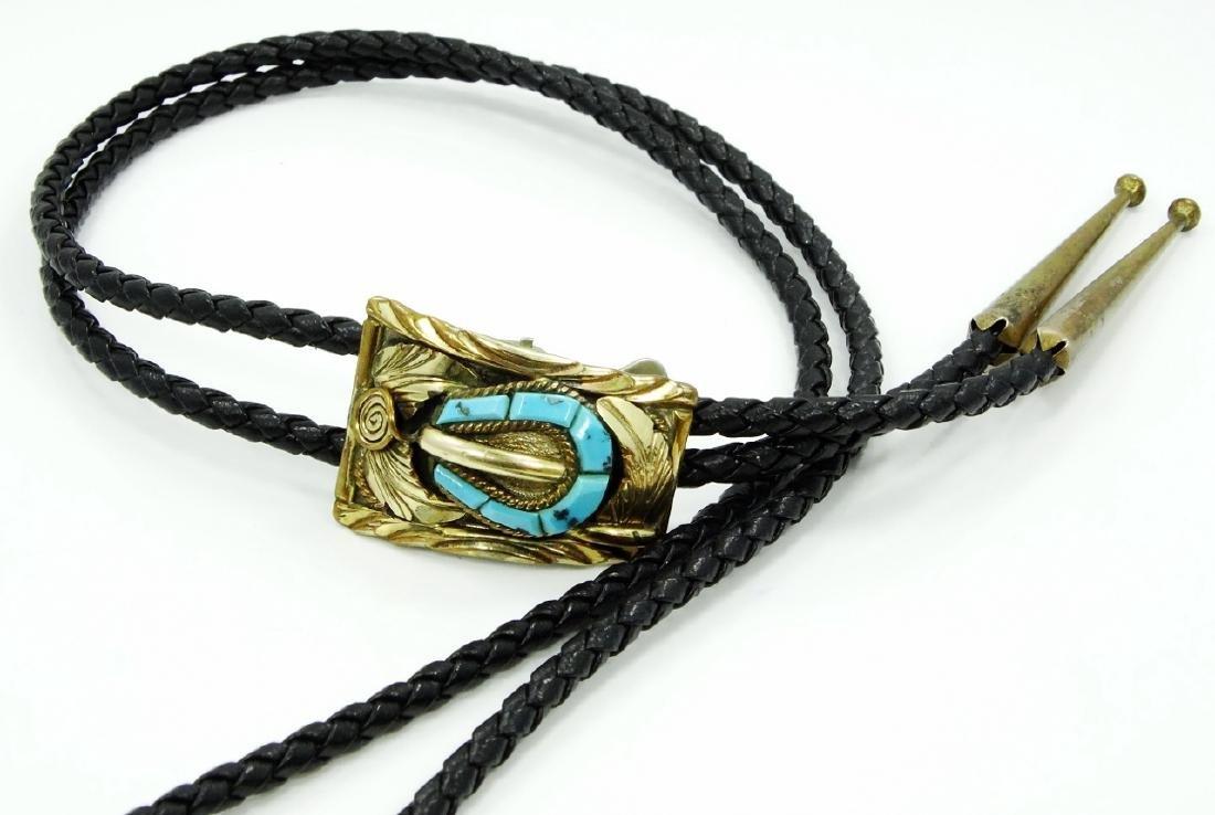 Native American Bolo Tie W/Turquoise, Silver