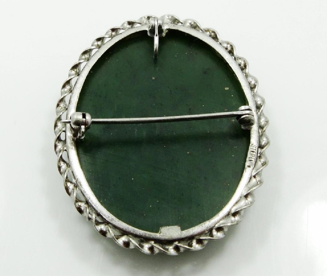 Native American Silver & Aventurine Brooch - 3