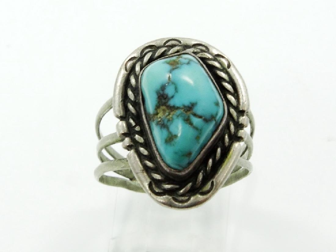 Native American Silver & Turquoise Ring - 2