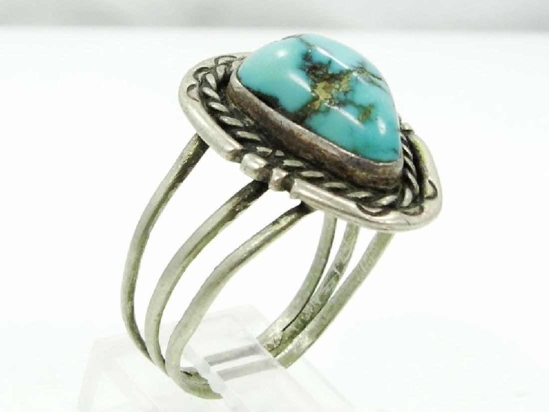 Native American Silver & Turquoise Ring - 3