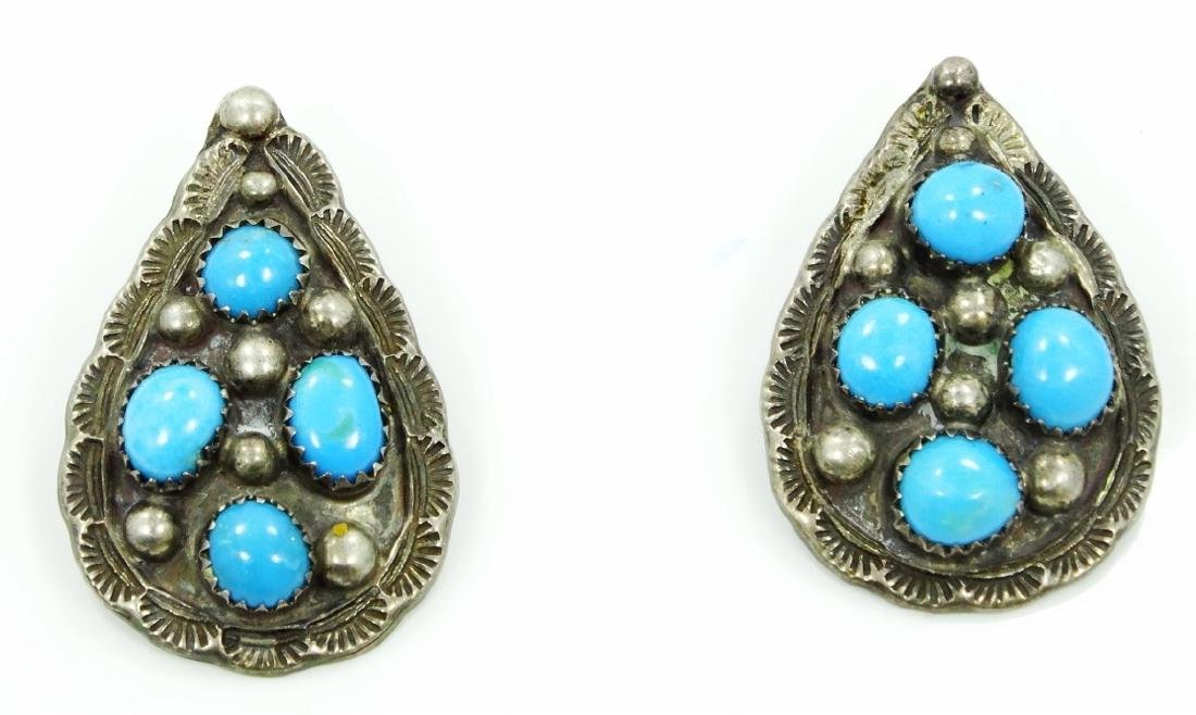 Native Amer. Silver & Turquoise Earrings