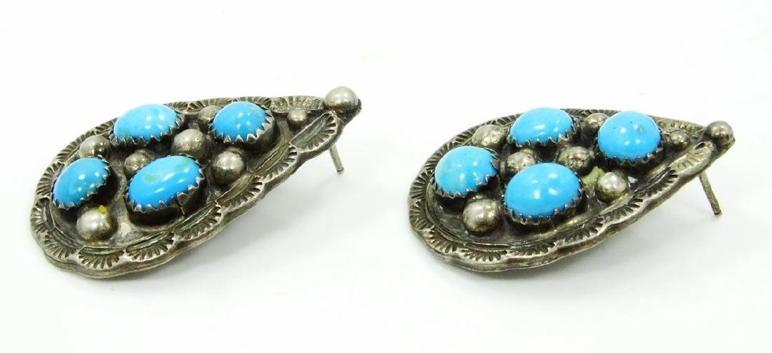 Native Amer. Silver & Turquoise Earrings - 2