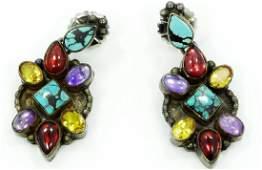 Native Amer. Silver & Gemstone Earrings