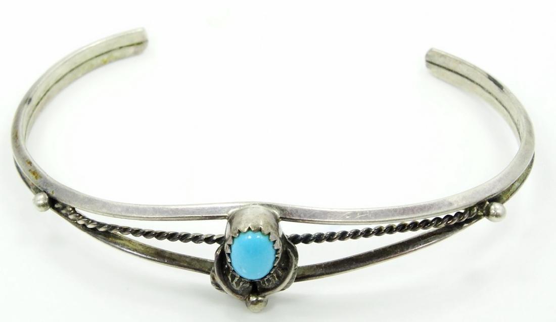 Navajo Benson Boyd Sterl. Silver Cuff W/Turqouise - 2