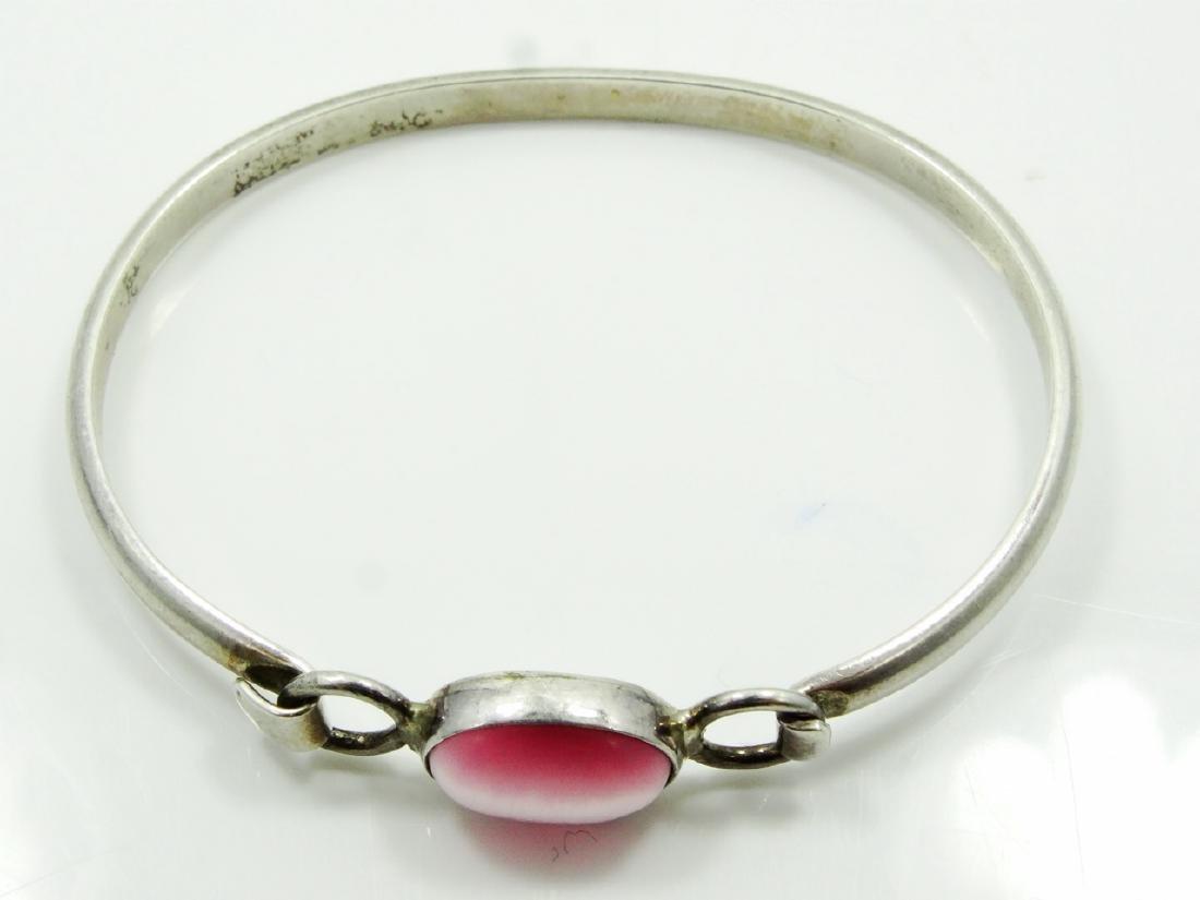 Sterling Silver & Polished Rose Quartz Bangle - 2