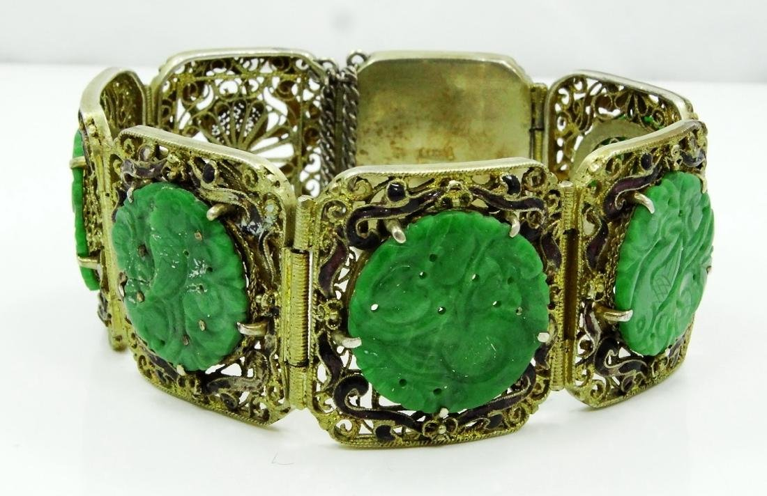 Chinese Silver 7-Panel Bracelet W/Jade Medallions