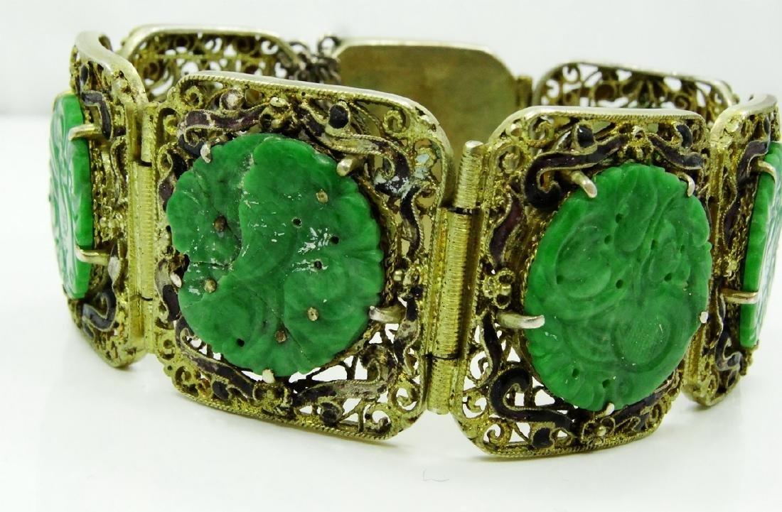 Chinese Silver 7-Panel Bracelet W/Jade Medallions - 2