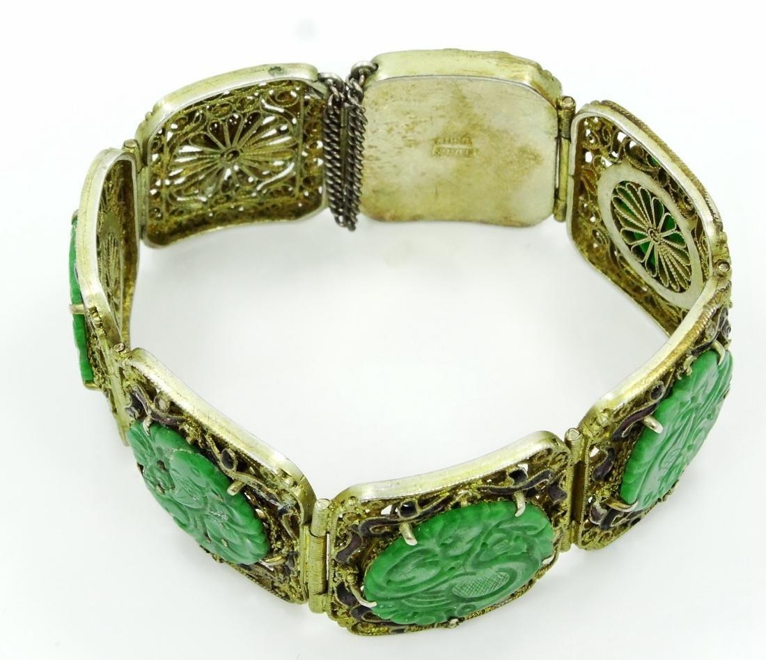 Chinese Silver 7-Panel Bracelet W/Jade Medallions - 3