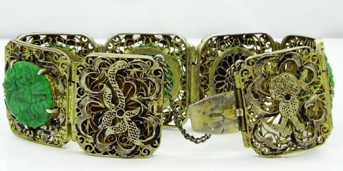 Chinese Silver 7-Panel Bracelet W/Jade Medallions - 4