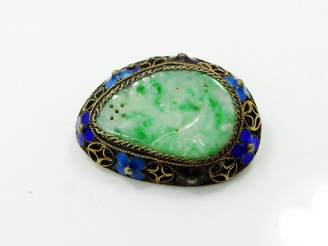 Chinese Silver & Jade Medallion Brooch W/Enamel